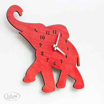 The Baby Elephant in Red designer wall mounted clock by LeLuni