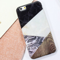 Retro Patchwork Marble iPhone 5se 5s 6 6s Plus Case Cover