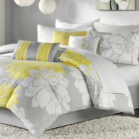 Queen 7 Piece Bed Set Grey & Yellow Floral Comforter Set