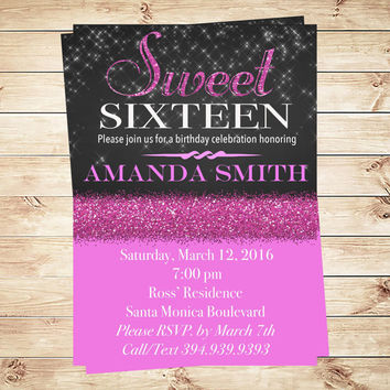Printable Sweet 16 Birthday Party Invitation with glitter pink, Sweet sixteen Pink Glitter invite, Sweet 16 invitation, Art Party Invitation