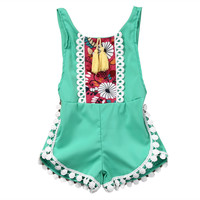 sleeveless tassel Romper Baby girls