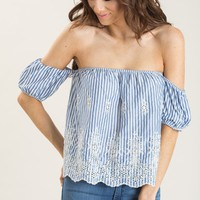Layla Blue Embroidered Stripe Off the Shoulder Top