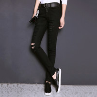 Denim Black Ripped And Frayed Skinny Jeans