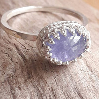 Genuine Tanzanite and Sterling Silver Ring - Crown Ring - Tanzanite Ring - Purple Stone Ring - Wedding Jewelry - Bridesmaids Gifts