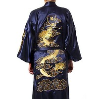 Hot Sale Navy Blue Chinese Men's Silk Satin Robe Embroider Kimono Bath Gown Dragon Size S M L XL XXL XXXL