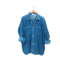 Blue Corduroy Shirt Preppy Cotton Ribbed Jacket Long Zip Up Top with Chest Pockets 1990s Vintage Slouchy Shirt Coat Womens Large