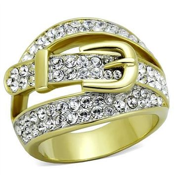 WildKlass Stainless Steel Ring Two-Tone IP Gold Women Top Grade Crystal Clear