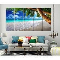 Extra Large Wall Art Beach Canvas Print The Waves on Beach and Palm Tree
