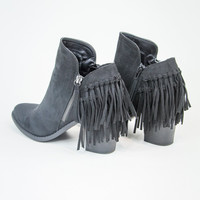 Back Fringe Bootie in Black