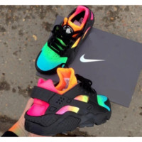 Pitch Black Custom Nike Air Huarache x Rainbow