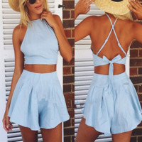 Blue chinese-style chest covering type lace-up back brief paragraph sport suit two-piece outfit