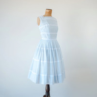 Vintage 1950s dress / pale pastel blue white lace / 50s full skirt day dress Minx Modes XS / S