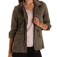 Olive Drawstring Anorak Jacket by Charlotte Russe
