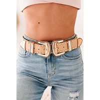 Outlaw Country Studded Double Buckle Belt (Nude/Gold)