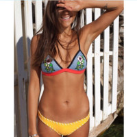 Digital printing three point type two piece bikini Cow boy blue flower yellow bottom