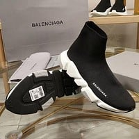 Balenciaga Speed Trainers Black With Tricolor Sole Sneakers