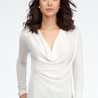 Ribbed Cowl Neck Soft Sweater