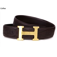 Hermes 2019 new embossed logo men and women models smooth buckle belt Coffee