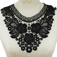 "12"" black floral reversible lace fabric choker collar bib necklace 9"" drop"