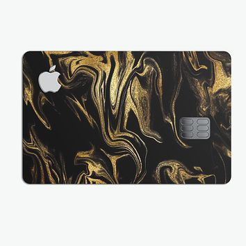 Black & Gold Marble Swirl V7 - Premium Protective Decal Skin-Kit for the Apple Credit Card
