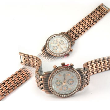 Geneva Mens and Ladies CZ Watch Copper Finish