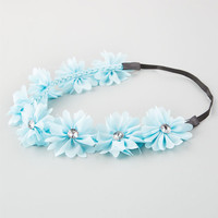 Full Tilt Chiffon Flower Headband Light Blue One Size For Women 21998722101