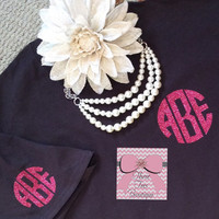 Glitter Monogram T-Shirt Monogram Shirt Short Sleeve Glitter Monogram TShirt Monogrammed Gifts Perfect for Bridesmaids