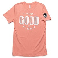The Good Fight Tee - Peach/Silver