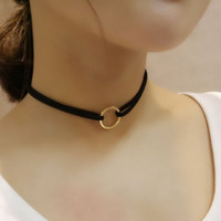 New Fashion Black Cord Gold Color Round Metal Circle Torques Choker Necklace For Women Fine Jewelry 8859