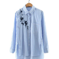 High-low Striped Collared Blouse with Embroidery Detail