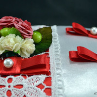 Ring bearer pillow Wedding with Lace and Flowers for Weddings - Color Red and White or Red and Ivory for Bride and Groom