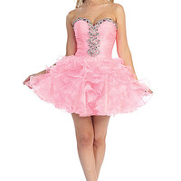 Short Ruffle Prom Dress with Beading in Pink