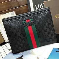 GUCCI New fashion stripe more letter leather cosmetic bag file package bag Black