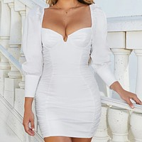 Autumn and winter new fashion solid color long-sleeved V-neck wrapped chest stitching package hip dress White