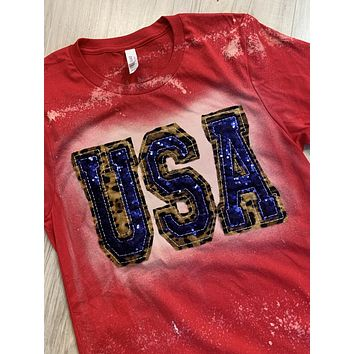 Double Stacked USA Shirt - Red with Leopard and Blue Sequins