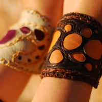 Pixie festival leather wrist-band cuff, urban fairy pebbled bracelet - Custom made, choose your colors - Perfect Xmas gift