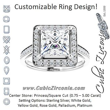 Cubic Zirconia Engagement Ring- The Natascha Eva (Customizable Cathedral-raised Princess/Square Cut Halo-and-Accented Band Design)