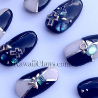 Black & Beige colorblock with studs, shell stones and crosses 3D Nail art false fake nails Japanese gel nails