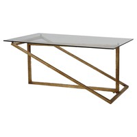 Zerrin Lightly Antiqued Gold Leaf Coffee Table