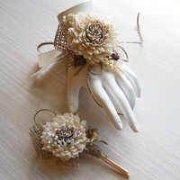 Wrist Corsage and/or Boutonniere, Sola Flowers, for Rustic, Country, Bohemian, Woodland, Style Weddings. Made to Order.