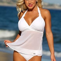 White Sheer Lovers Beach Tankini Two Piece Swimsuit by UjENA©