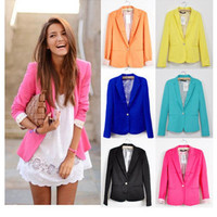 2016  Women Suit Blazer Foldable Brand Jacket Made Of Cotton & Spandex With Lining Vogue Candy Colors Blazers Free ShippingA7995