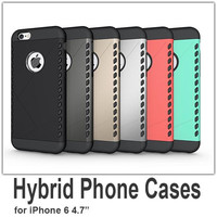 2 in 1 Hybrid Cell Phone Case for iPhone 6 4.7inch Mobile Phone Protective Shell 6 Colors