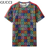 GUCCI Summer New Fashion Multicolor More Letter Print Women Men Top T-Shirt Black