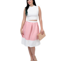 Pink & White Two Tone High Waisted Scuba Knit Swing Skirt