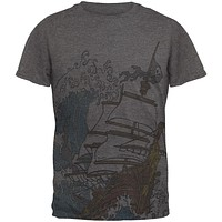 Pirate Ship Wave Mens Soft T Shirt