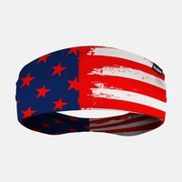 Brushed Red Tactical USA Flag Headband