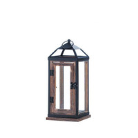 Timeless Contemporary Rustic Chic Pine Wood and Iron Candle Lantern