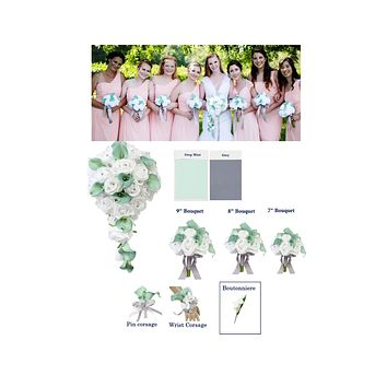 Dark Mint White Real Touch Artificial Calla Lily and Silk Rose - Build your wedding package
