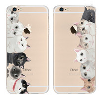 Family Cats Transparent Iphone 6 6S Plus Cases
